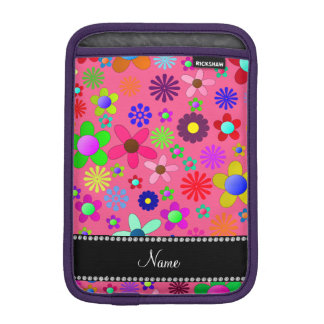 Personalized name pink colorful retro flowers iPad mini sleeves