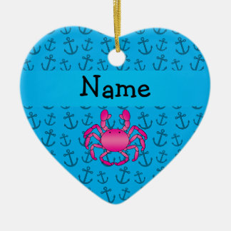 Personalized name pink crab blue anchors pattern christmas ornament