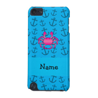 Personalized name pink crab blue anchors pattern iPod touch 5G case