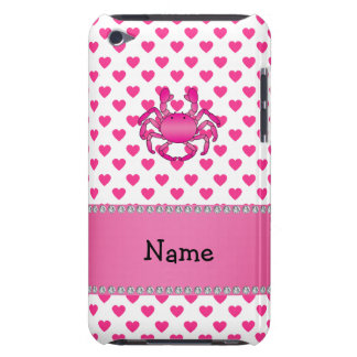 Personalized name pink crab pink hearts polka dots barely there iPod cases