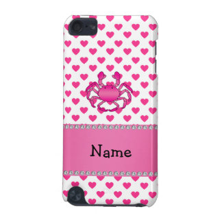 Personalized name pink crab pink hearts polka dots iPod touch 5G covers
