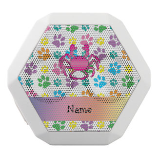 Personalized name pink crab rainbow paws white boombot rex bluetooth speaker