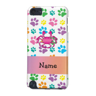 Personalized name pink crab rainbow paws iPod touch 5G cases
