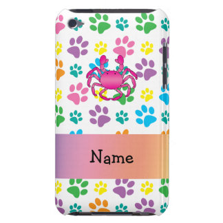 Personalized name pink crab rainbow paws iPod touch covers