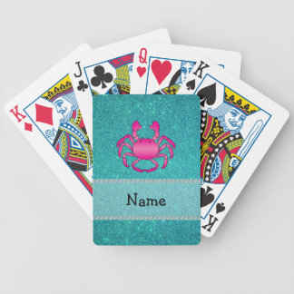 Personalized name pink crab turquoise glitter bicycle playing cards