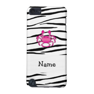 Personalized name pink crab zebra stripes iPod touch 5G cases