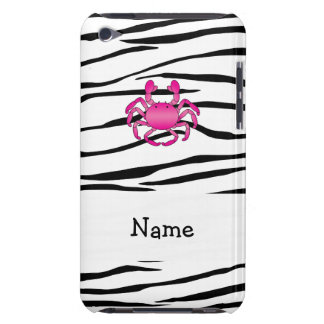 Personalized name pink crab zebra stripes iPod touch case