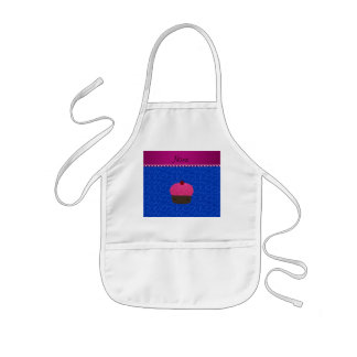 Personalized name pink cupcake blue swirls aprons