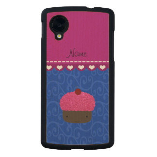 Personalized name pink cupcake blue swirls carved® maple nexus 5 slim case