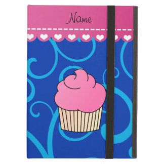 Personalized name pink cupcake blue swirls iPad air covers