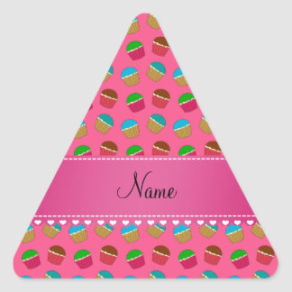 Personalized name pink cupcake pattern triangle sticker