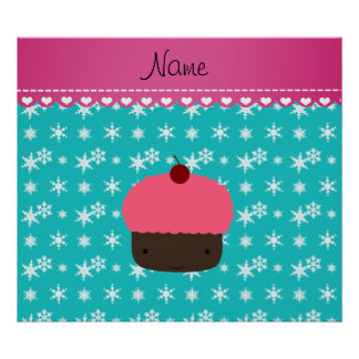 Personalized name pink cupcake turquoise snowflake poster
