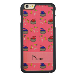 Personalized name pink curling pattern carved® maple iPhone 6 plus case