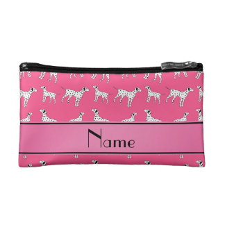 Personalized name pink dalmatian dogs makeup bags