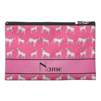 Personalized name pink dalmatian dogs travel accessories bags
