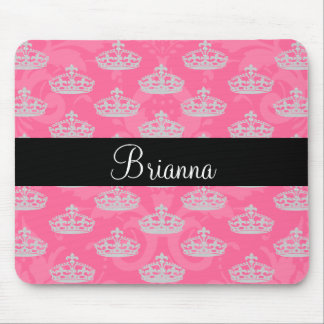 Personalized Name Pink Damask Diamond Crown Mouse Mat