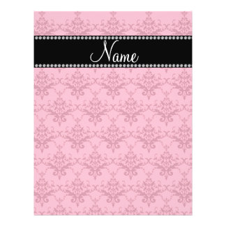 Personalized name Pink damask Flyers