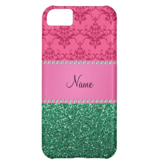 Personalized name pink damask green glitter cover for iPhone 5C