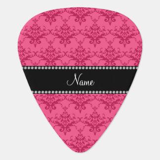 Personalized name Pink damask Guitar Pick