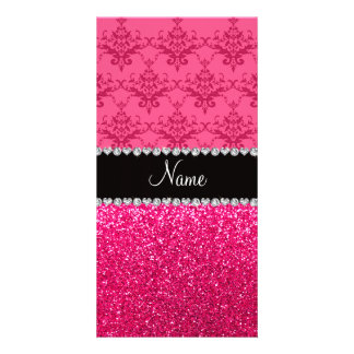 Personalized name pink damask pink glitter personalized photo card