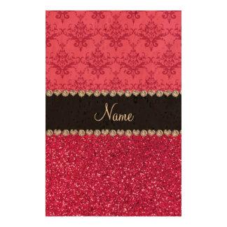 Personalized name pink damask pink glitter photo cork paper