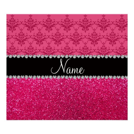 Personalized name pink damask pink glitter poster