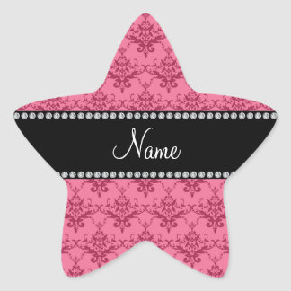 Personalized name Pink damask Star Stickers