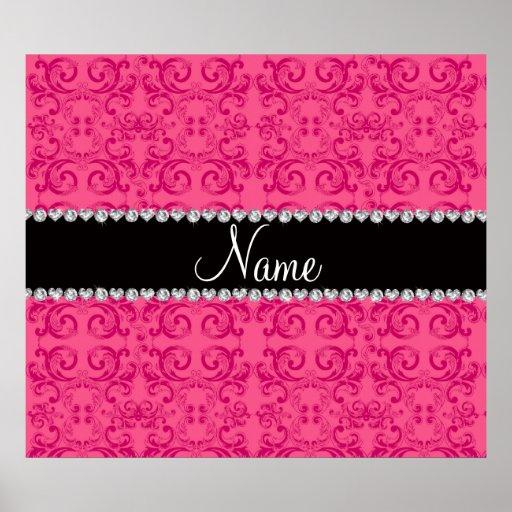 Personalized name pink damask swirls print