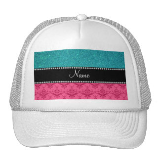 Personalized name pink damask turquoise glitter hat