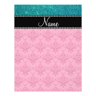 Personalized name pink damask turquoise glitter flyers