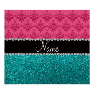 Personalized name pink damask turquoise glitter poster
