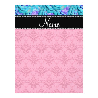 Personalized name pink damask turquoise roses personalized flyer