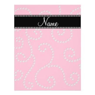 Personalized name pink diamond swirls flyer design