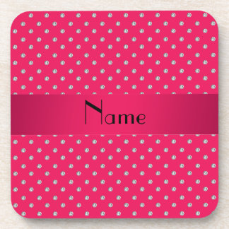 Personalized name pink diamonds coasters