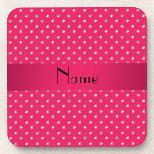 Personalized name pink diamonds coasters