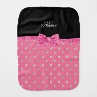 Personalized name pink diamonds pink bow baby burp cloth