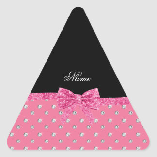 Personalized name pink diamonds pink bow triangle stickers