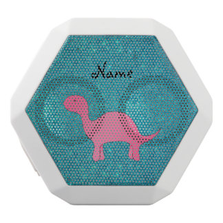 Personalized name pink dinosaur turquoise glitter white boombot rex bluetooth speaker