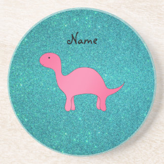 Personalized name Pink dinosaur turquoise glitter Coaster
