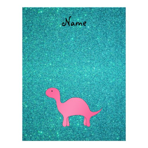 Personalized name Pink dinosaur turquoise glitter Personalized Flyer