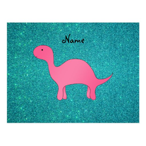 Personalized name Pink dinosaur turquoise glitter Post Card