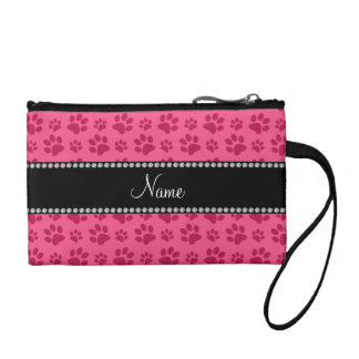 Personalized name pink dog paw prints coin purse