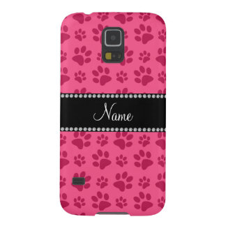 Personalized name pink dog paw prints galaxy s5 cases
