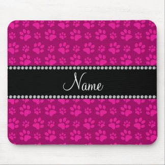 Personalized name pink dog paw prints mouse mat