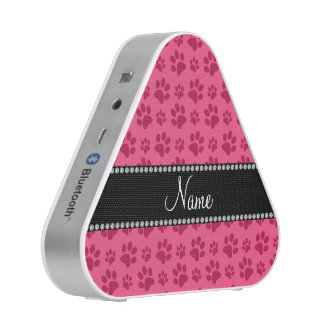 Personalized name pink dog paw prints bluetooth speaker