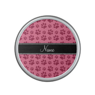 Personalized name pink dog paw prints speaker