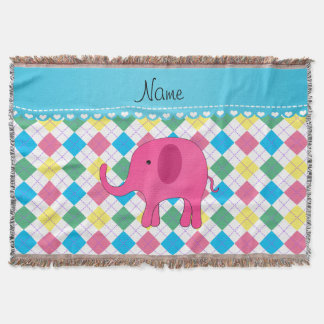 Personalized name pink elephant colorful argyle throw blanket
