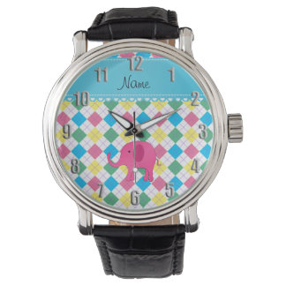 Personalized name pink elephant colorful argyle wrist watch