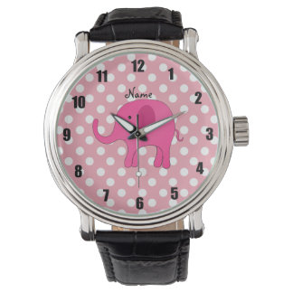Personalized name pink elephant pink polka dots watch