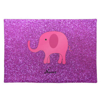 Personalized name pink elephant purple glitter placemat